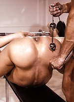 Classic gay porn scene - two hot athletes fucking in a gym